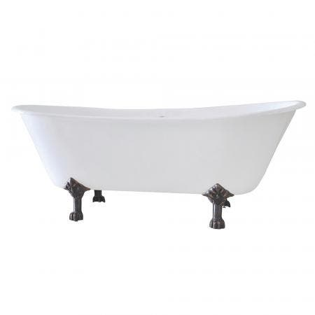 Aqua Eden VCT7D6728NH5 67-Inch Cast Iron Double Slipper Clawfoot Tub with 7-Inch Faucet Drillings, White/Oil Rubbed Bronze