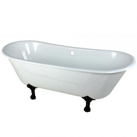 Aqua Eden VCTND6728NH5 67-Inch Cast Iron Double Slipper Clawfoot Tub (No Faucet Drillings), White/Oil Rubbed Bronze