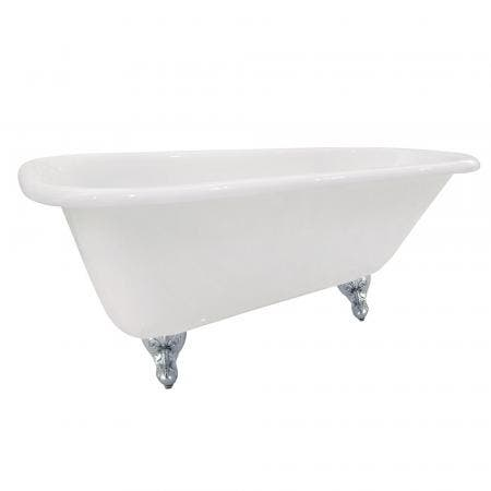 Aqua Eden NHVCTND673123T1 66-Inch Cast Iron Roll Top Clawfoot Tub (No Faucet Drillings), White/Polished Chrome