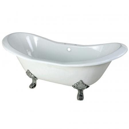 Aqua Eden VCT7D7231NC1 72-Inch Cast Iron Double Slipper Clawfoot Tub with 7-Inch Faucet Drillings, White/Polished Chrome