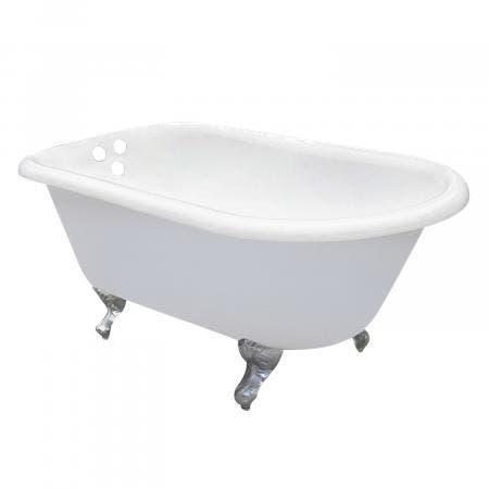 Aqua Eden 60-Inch Cast Iron Roll Top Clawfoot Tub with 3-3/8-Inch Wall Drillings and Feet, White/Polished Chrome