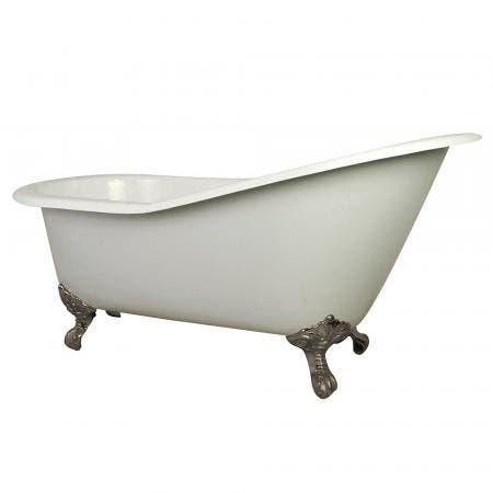 Aqua Eden NHVCT7D653129B8 61-Inch Cast Iron Single Slipper Clawfoot Tub with 7-Inch Faucet Drillings, White/Brushed Nickel
