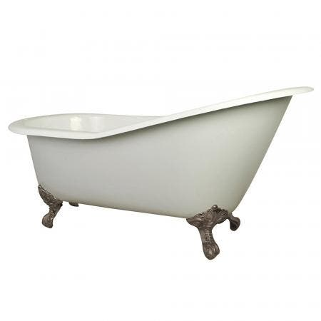 Aqua Eden VCT7D653129B8 61-Inch Cast Iron Single Slipper Clawfoot Tub with 7-Inch Faucet Drillings, White/Brushed Nickel