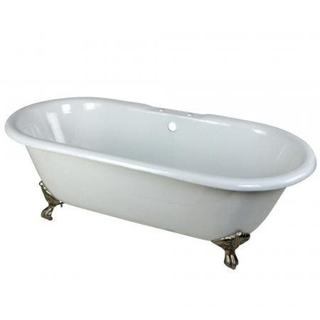 Aqua Eden VCT7D663013NB8 66-Inch Cast Iron Double Ended Clawfoot Tub with 7-Inch Faucet Drillings, White/Brushed Nickel