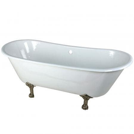 Aqua Eden VCTND6728NH8 67-Inch Cast Iron Double Slipper Clawfoot Tub (No Faucet Drillings), White/Brushed Nickel