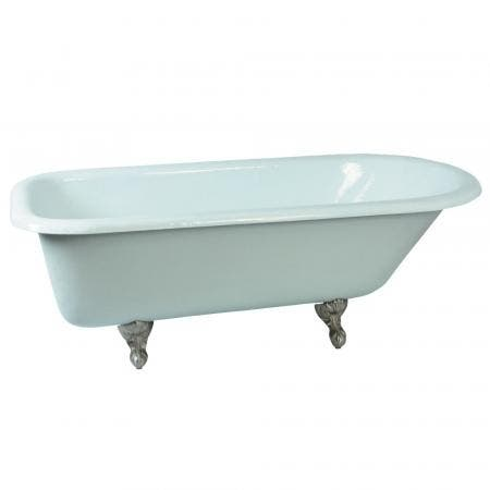 Aqua Eden VCTND673123T8 67-Inch Cast Iron Roll Top Clawfoot Tub (No Faucet Drillings), White/Brushed Nickel
