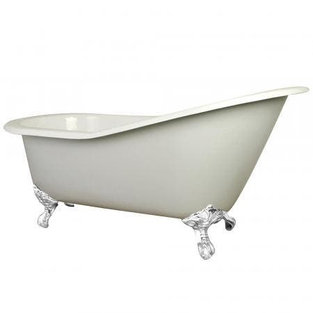Aqua Eden NHVCT7D653129BW 61-Inch Cast Iron Single Slipper Clawfoot Tub with 7-Inch Faucet Drillings, White