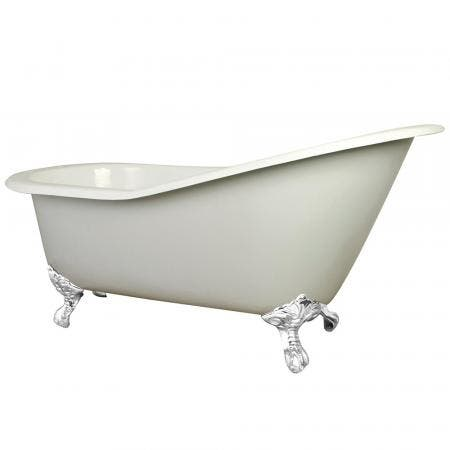 Aqua Eden VCT7D653129BW 61-Inch Cast Iron Single Slipper Clawfoot Tub with 7-Inch Faucet Drillings, White