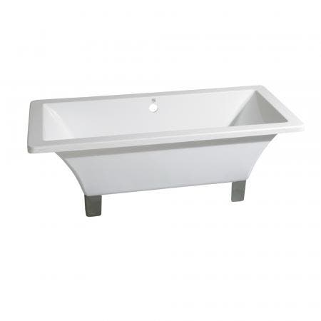 Aqua Eden VTSQ673018A8 67-Inch Acrylic Double Ended Clawfoot Tub (No Faucet Drillings), White/Brushed Nickel