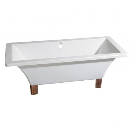 Aqua Eden VTSQ673018A6 67-Inch Acrylic Double Ended Clawfoot Tub (No Faucet Drillings), White/Naples Bronze