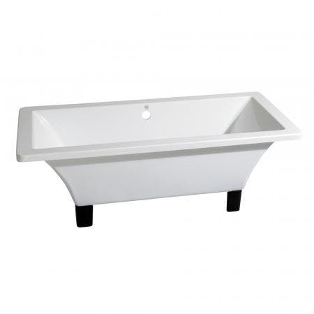 Aqua Eden VTSQ673018A5 67-Inch Acrylic Double Ended Clawfoot Tub (No Faucet Drillings), White/Oil Rubbed Bronze