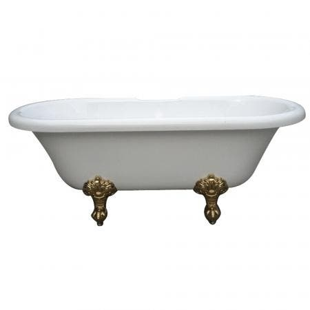 Aqua Eden VTDS673023H2 67-Inch Acrylic Double Ended Clawfoot Tub (No Faucet Drillings), White/Polished Brass