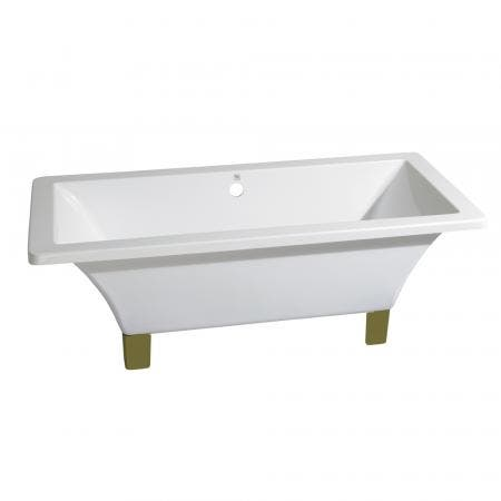 Aqua Eden VTSQ673018A2 67-Inch Acrylic Double Ended Clawfoot Tub (No Faucet Drillings), White/Polished Brass