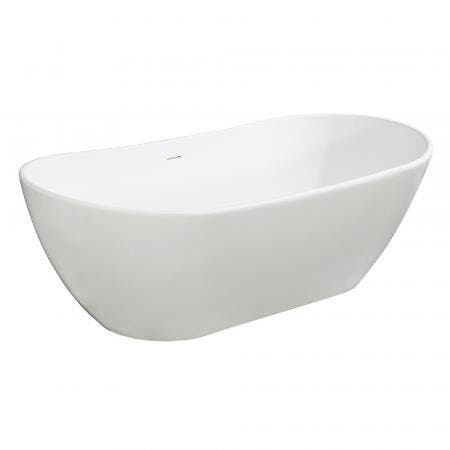 Aqua Eden VRTRS723223 Arcticstone 72-Inch Solid Surface White Stone Freestanding Tub with Drain, Matte White