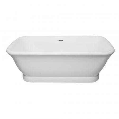 Aqua Eden VTDE713524 71-Inch Acrylic Double Ended Pedestal Tub with Square Overflow and Pop-Up Drain, White