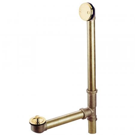 """Kingston Brass PDLL3162 16"""" Tub Waste with Overflow with Lift and Lock Drain, Polished Brass"""