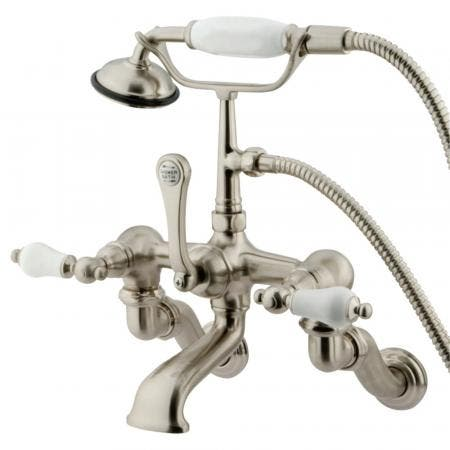 Kingston Brass CC459T8 Vintage Adjustable Center Wall Mount Tub Faucet with Hand Shower, Brushed Nickel