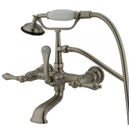 Kingston Brass CC551T8 Vintage 7-Inch Wall Mount Tub Faucet with Hand Shower, Brushed Nickel