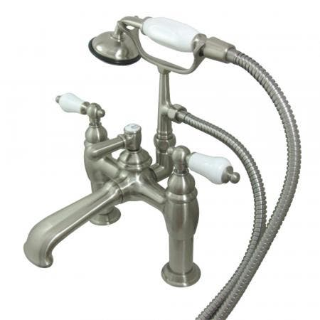 Kingston Brass CC605T8 Vintage 7-Inch Deck Mount Tub Faucet with Hand Shower, Brushed Nickel
