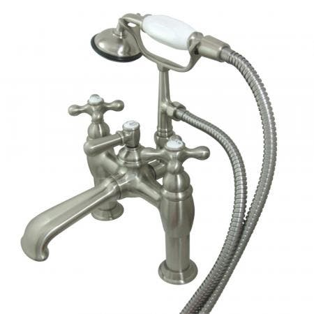 Kingston Brass CC609T8 Vintage 7-Inch Deck Mount Tub Faucet with Hand Shower, Brushed Nickel