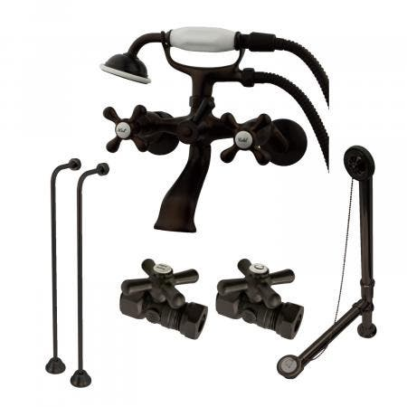 Vintage Wall Mount Clawfoot Tub Faucet Package in Oil Rubbed Bronze