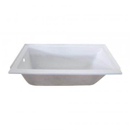 Aqua Eden XVTPN603020L 60-Inch Acrylic Rectangular Drop-In Tub with Left Hand Drain Hole, White