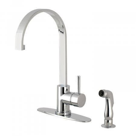 Gourmetier LS8711DLSP 8-inch Centerset Kitchen Faucet with Side Sprayer, Polished Chrome
