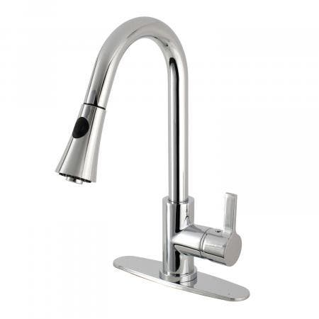 Gourmetier LS8721CTL 8-inch Centerset Kitchen Faucet with Pull-Down Sprayer, Polished Chrome