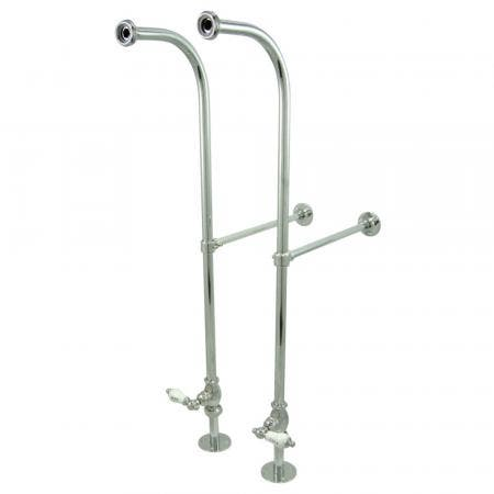 Kingston Brass CC451HCL RIGID FREESTAND SUPPLIES with STP PORCELAIN Hot & Cold LEVER handle. , Polished Chrome