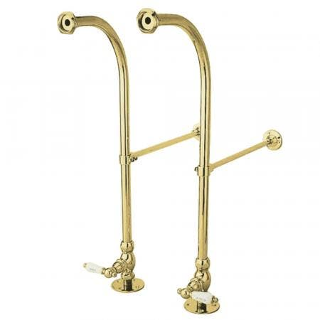 Kingston Brass CC452HCL RIGID FREESTAND SUPPLIES with STP PORCELAIN Hot & Cold LEVER handle.Polished Brass