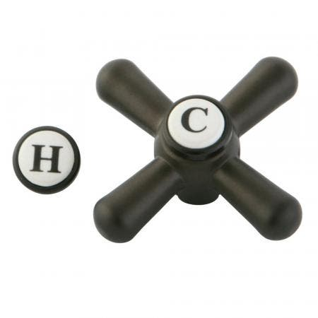 Kingston Brass CCDVAXH5 Metal Cross Hdl Only W/Blue Red Index W/O Hdl Body , Oil Rubbed Bronze