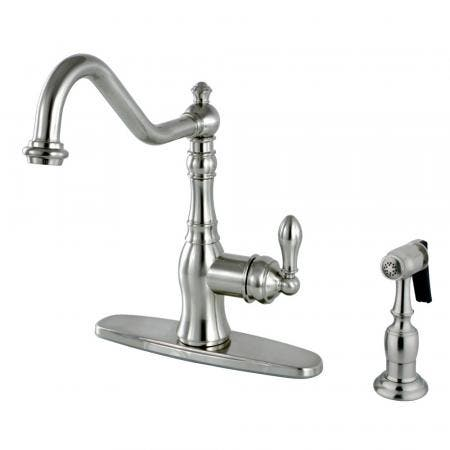 Kingston Brass KB3755TL Tremont 8 inch center two handle kitchen faucet with side sprayer