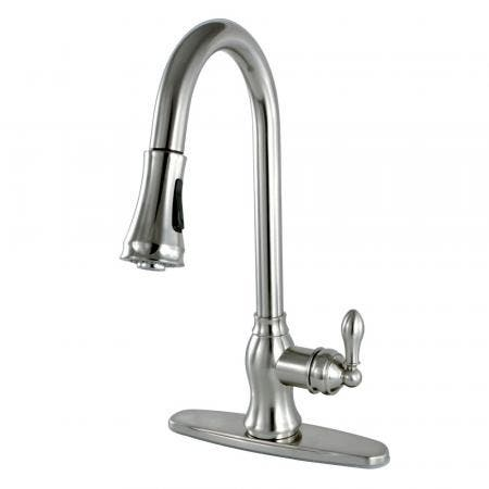 Kingston Brass KB3758AXBS Restoration 8 inch center two handle kitchen faucet with metal side sprayer