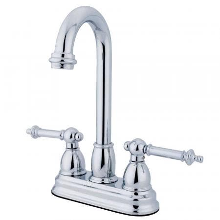 Kingston Brass KS6571VLSP 8 inch center single handle kitchen faucet with side sprayer