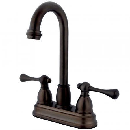 Kingston Brass KS6578VLSP 8 inch center single handle kitchen faucet with side sprayer