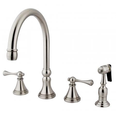 "Kingston Brass KS8649QL MILANO 4"" CENTER bathroom Faucet, Satin Nickel/Polished Brass"