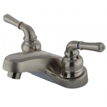 Kingston Brass KS1235AXBS Heritage single post two handles kitchen faucet with metal side sprayer