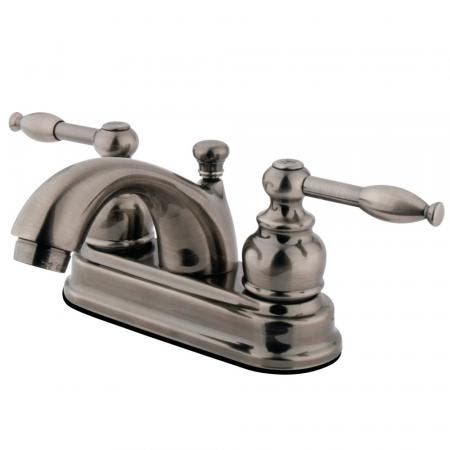 Kingston Brass KS1235PLBS Heritage single post two handles kitchen faucet with metal side sprayer