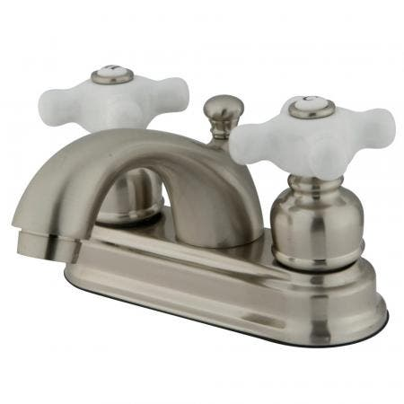 Kingston Brass KS7708DLSP Kingston Brass KS7708DLSP Two Lever Handles Kitchen Faucet with Plastic Sprayer, Satin Nickel