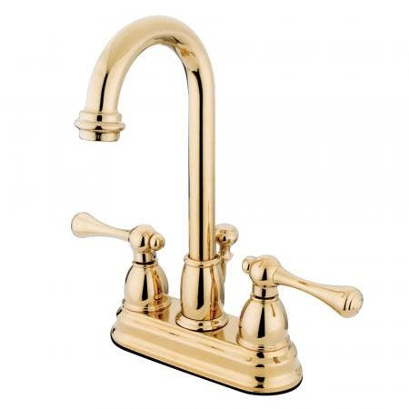 Kingston Brass KS7821TLBS Templeton widespread single handle Goose Neck kitchen faucet with metal side sprayer
