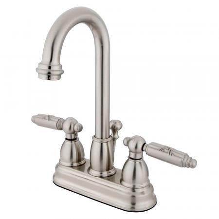 Kingston Brass KS8008DLSP Concord widespread single handle Goose Neck kitchen faucet with side sprayer