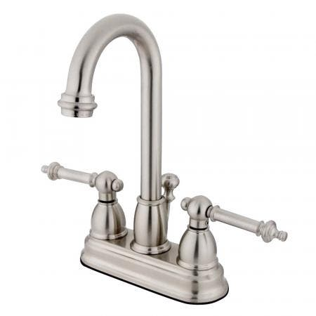 Kingston Brass KS8011DLSP Concord widespread single handle Goose Neck kitchen faucet with side sprayer
