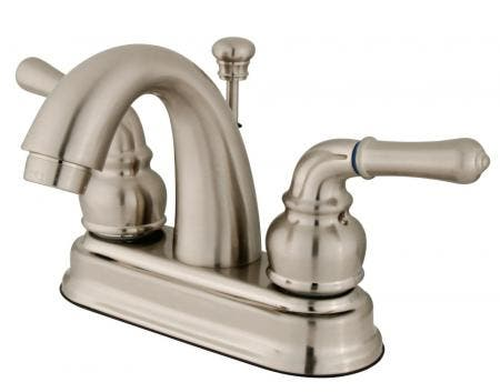 Kingston Brass KB3612NL Kingston Brass KB3612NL Deck Mount Lavatory Faucet with Handle and Retail Pop-Up, Polished Brass