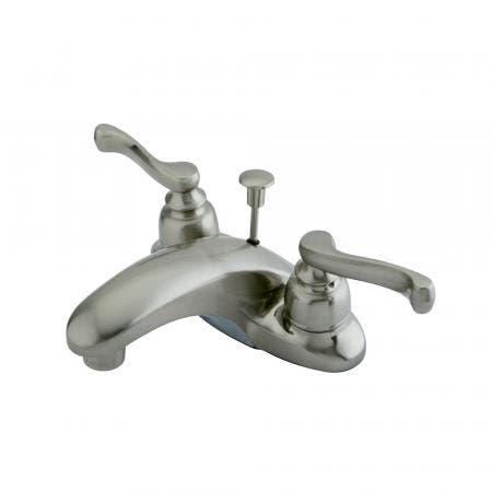"""Kingston Brass KB5612FLB 4"""" Centerset Bathroom Faucet with High Rise Spout with Brass Popup, Polished Brass"""