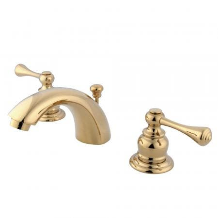 Kingston Brass KS2954ML Kingston Brass KS2954ML Mini Widespread Lavatory Faucet with Handle, Chrome/Polished Brass