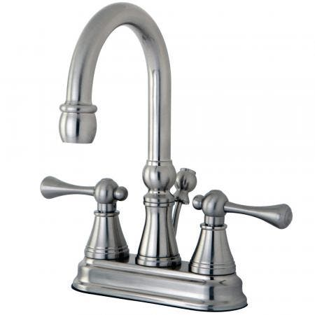 Kingston Brass KS8438DWL Kingston Brass KS8438DWL Lavatory Faucet with Push Up Pop Up and Plate, Satin Nickel