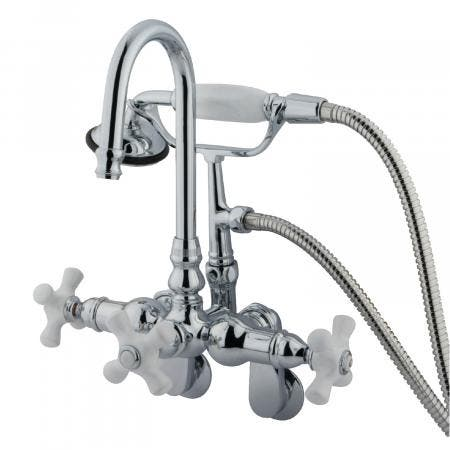 Kingston Brass CC308T1 Clawfoot Tub Filler With Hand Shower, Polished Chrome