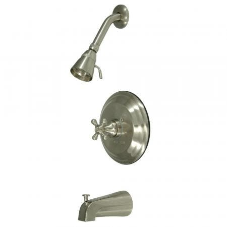 Kingston Brass KS2798PLBS Widespread Goose Neck kitchen faucet with metal side sprayer