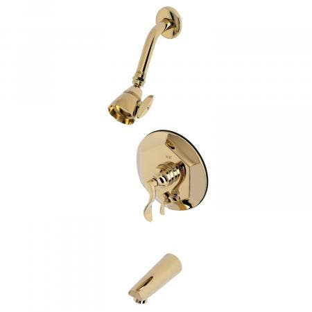 Kingston Brass KB46320DFL Tub and Shower Faucet, Polished Brass