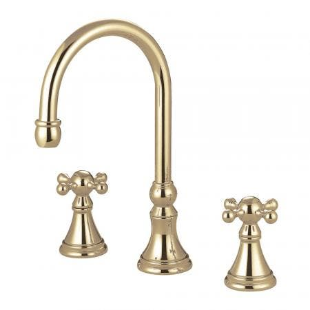 "Kingston Brass KS5562AX Two Handle 8"" to 16"" Widespread bathroom Faucet with Brass Pop"